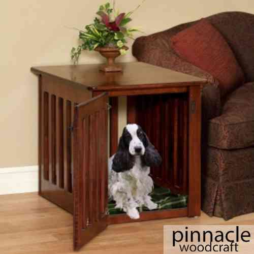 Bedside table dog crate by pinnacle wood craft